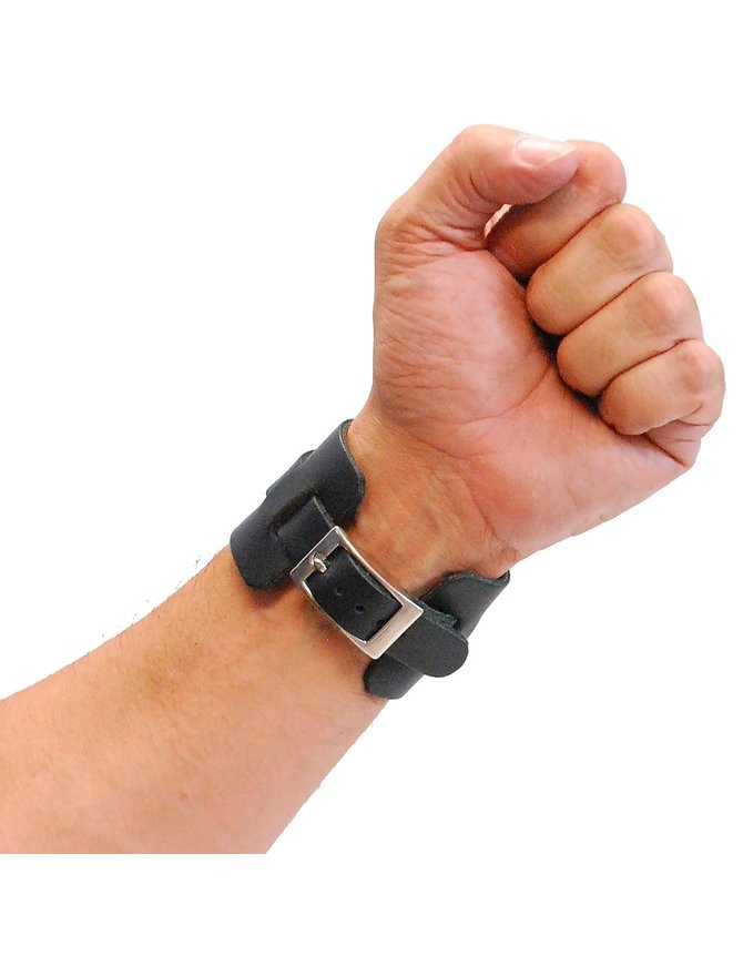 Jamin Leather Black Layered Leather Buckled Wristband #WB18070K
