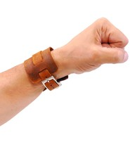 Jamin Leather Rustic Brown Layered Leather Buckled Wristband #WB18071VN