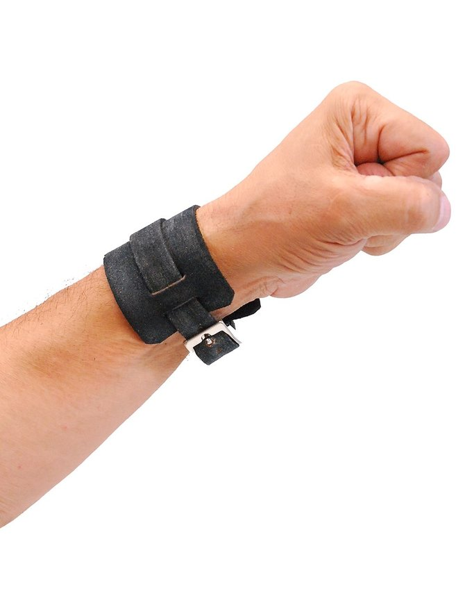 Jamin Leather Rustic Black Layered Leather Buckled Wristband #WB18079VK