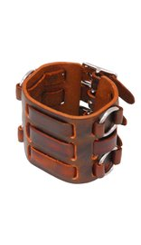 USA Brand Brown Leather Triple Strap Wristband / Watchband #WB4031AN