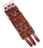 USA Brand Brown Leather Triple Strap Wristband / Watchband #WB4031AN