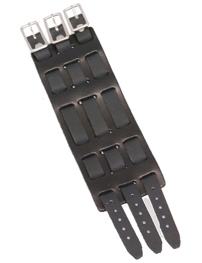 Made in USA Triple Buckle Black Leather Wristband / Watchband #WB40325K