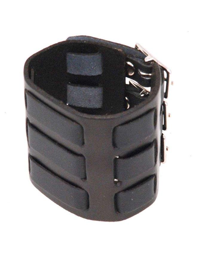 USA Brand Triple Buckle Black Leather Wristband / Watchband #WB40325K