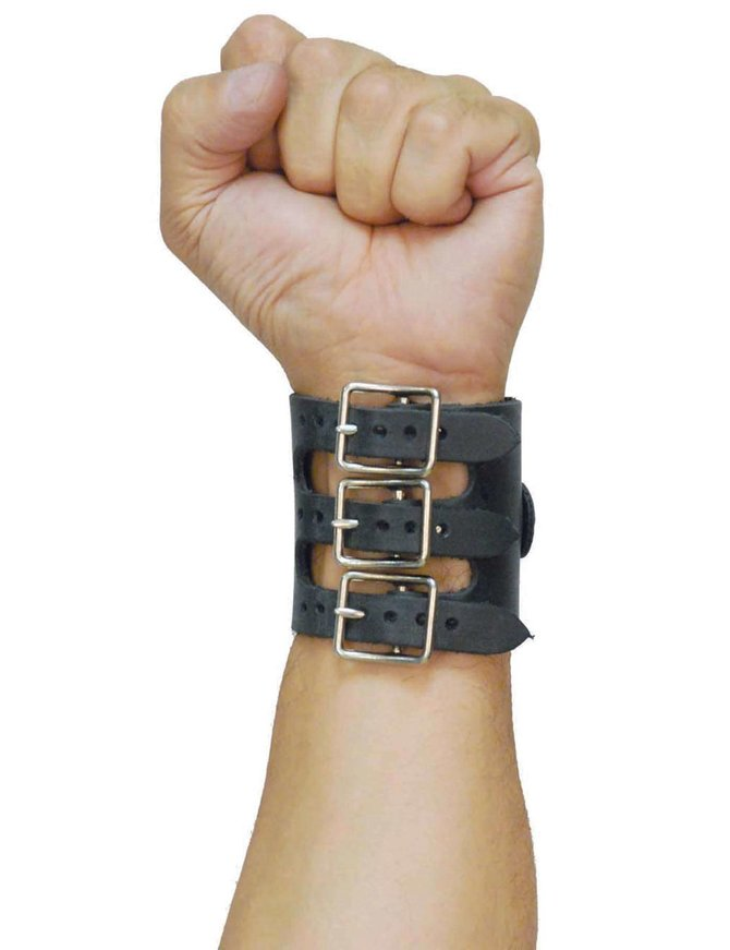 Jamin Leather Triple Buckle Wide D-Ring Wristband #WBD12080K