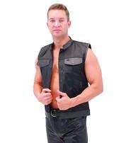Men's Leather & Nylon Anarchy Biker Club Vest w/CCW Pockets #VMC720K