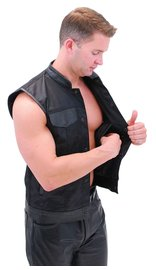 Men's Leather & Nylon Anarchy Biker Club Vest w/CCW Pockets #VMC720K