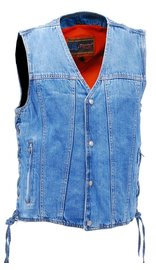 Daniel Smart Men's Blue Denim Dual Inside Pocket CCW Vest #VMC9050GLU