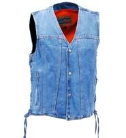 Daniel Smart Men's Blue Denim Dual Inside Pocket CCW Vest #VMC9050GLU