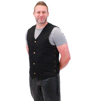 Side Lace Black Denim Vest w/CCW Pockets #VMC1315LK