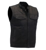 Black Denim Snap Up Club Vest w/CCW Pocket #VMC3200K