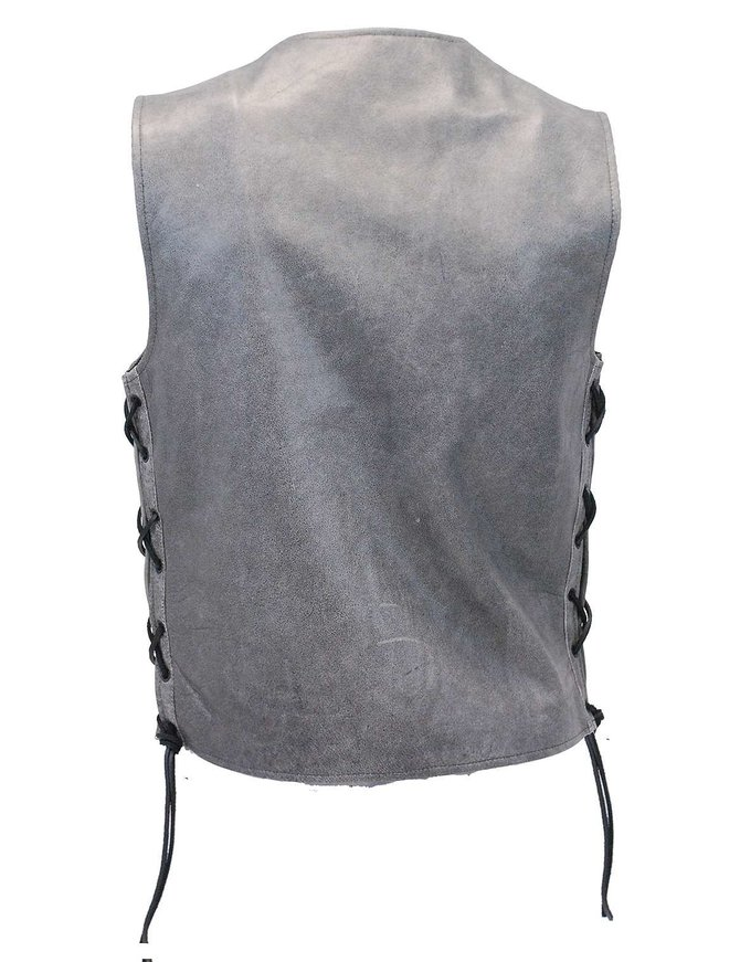 Daniel Smart Men's Side Lace Vintage Gray Leather Vest w/Dual CCW Pockets #VMA2605LGGY