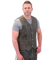 Jamin Leather Vintage Brown Side Lace Leather Biker Vest w/CCW Pockets #VMA273LDN