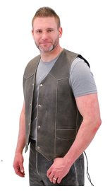 Jamin Leather Vintage Brown Side Lace Leather Biker Vest w/CCW Pockets #VMA273LDN (S-5X)