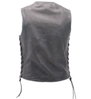 Milwaukee Vintage Gray Side Lace Straight Bottom Leather CCW Vest #VMA3521LGY