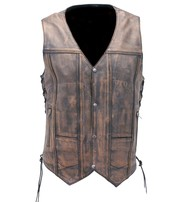 Vintage 10 Pocket Leather Vest For Conceal Carry #VMA3540GN