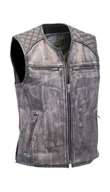 Men's Vintage Gray Quilt Shoulder Leather CCW Pocket Vest #VMA6715QGY (S-2X)