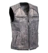 Men's Vintage Gray Quilt Shoulder Leather CCW Pocket Vest #VMA6715QGY