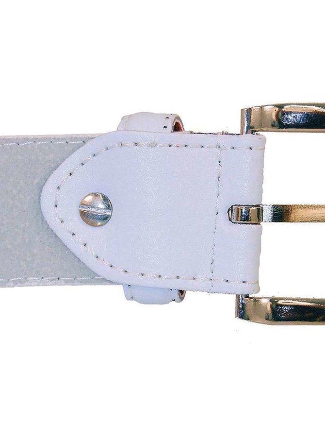 White Leather Belt #BT027W