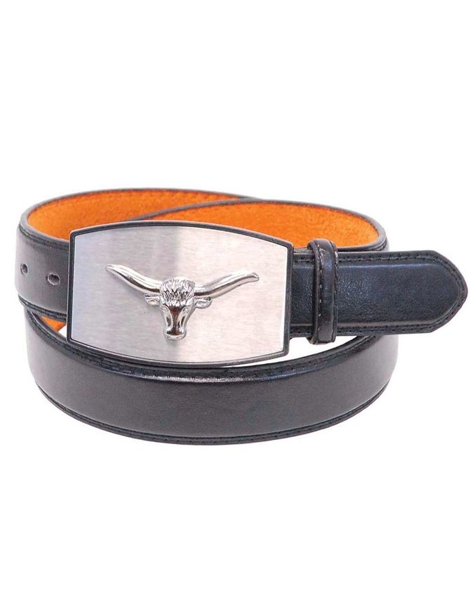 Black Leather Belt w/Longhorn Steer Head Buckle #BT105STEER