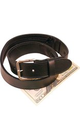 Made in USA Wide Black Leather Money Belt #BT112MBZ -