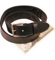 USA Brand Wide Black Leather Money Belt #BT112MBZ