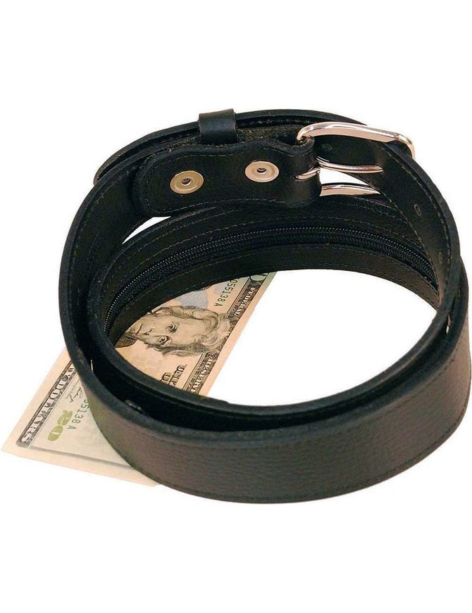 Made in USA Wide Black Leather Money Belt #BT112MBZ