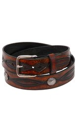 Made in USA Heavy Buffalo Nickel Vintage Brown Leather Belt #BT116BUFAN -