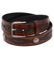 USA Brand Heavy Buffalo Nickel Vintage Brown Leather Belt #BT116BUFAN