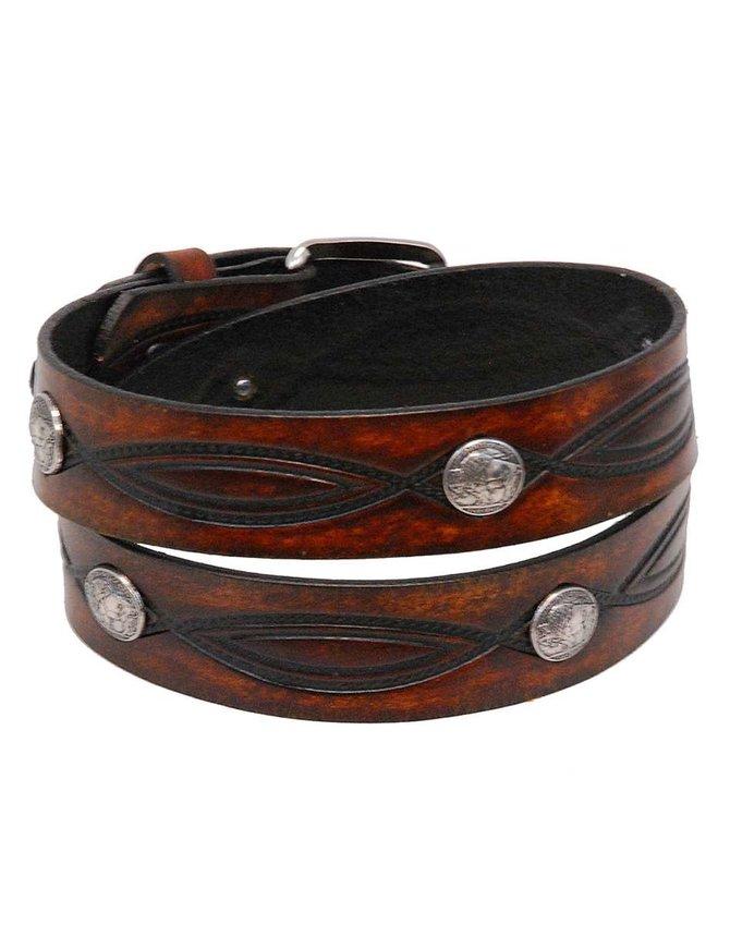 Made in USA Heavy Buffalo Nickel Vintage Brown Leather Belt #BT116BUFAN
