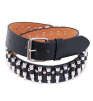 Black Leather Economy Bullet Belt #BT11BUL