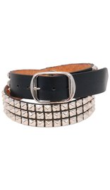 Made in USA Heavy Cowhide Pyramid Studded Leather Belt #BT1342PYK -