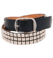 USA Brand Heavy Cowhide Pyramid Studded Leather Belt #BT1342PYK