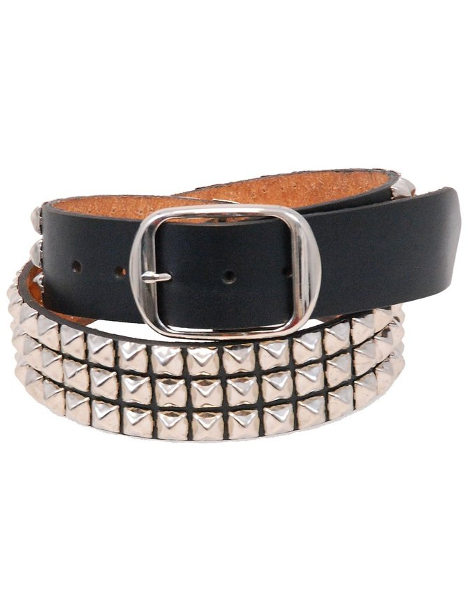 Made in USA Heavy Cowhide Pyramid Studded Leather Belt #BT1342PYK