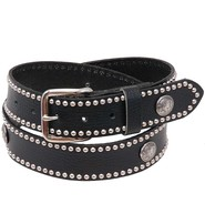 Made in USA Heavy Buffalo Nickel Stud Trim Solid Leather Belt #BT24BUFST