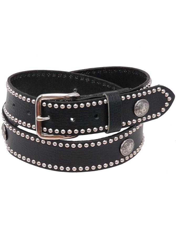 USA Brand Heavy Buffalo Nickel Stud Trim Solid Leather Belt #BT24BUFST