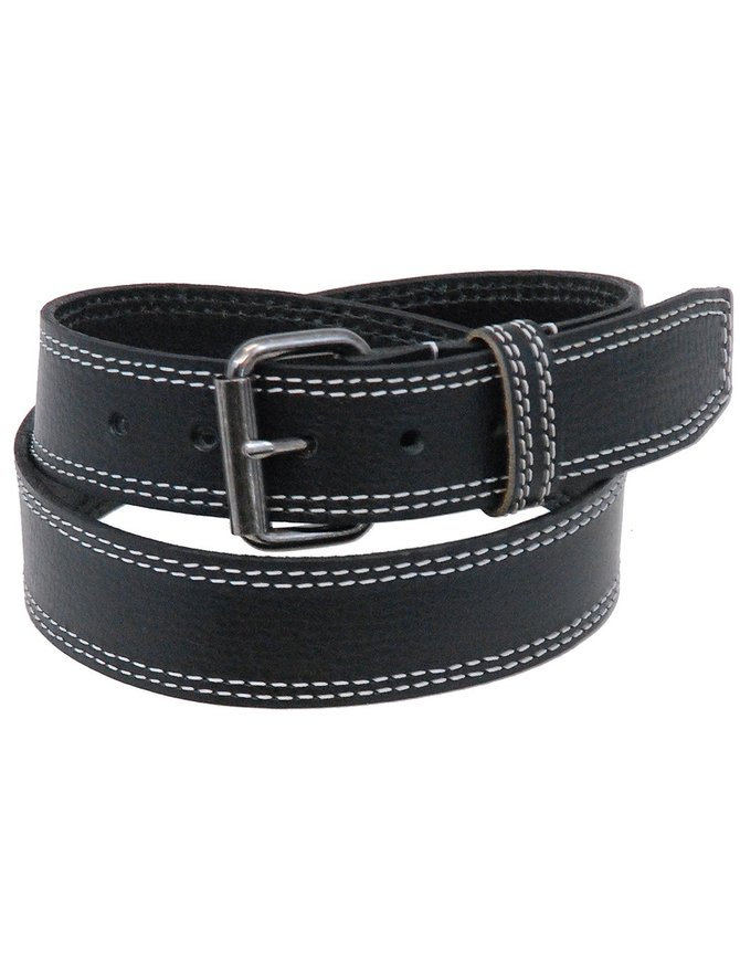 Made in USA Heavy Leather Belt With Double White Stitching #BT24WS2K
