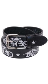 Flaming Motorcycle Embossed Leather Belt #BT52FBIKE