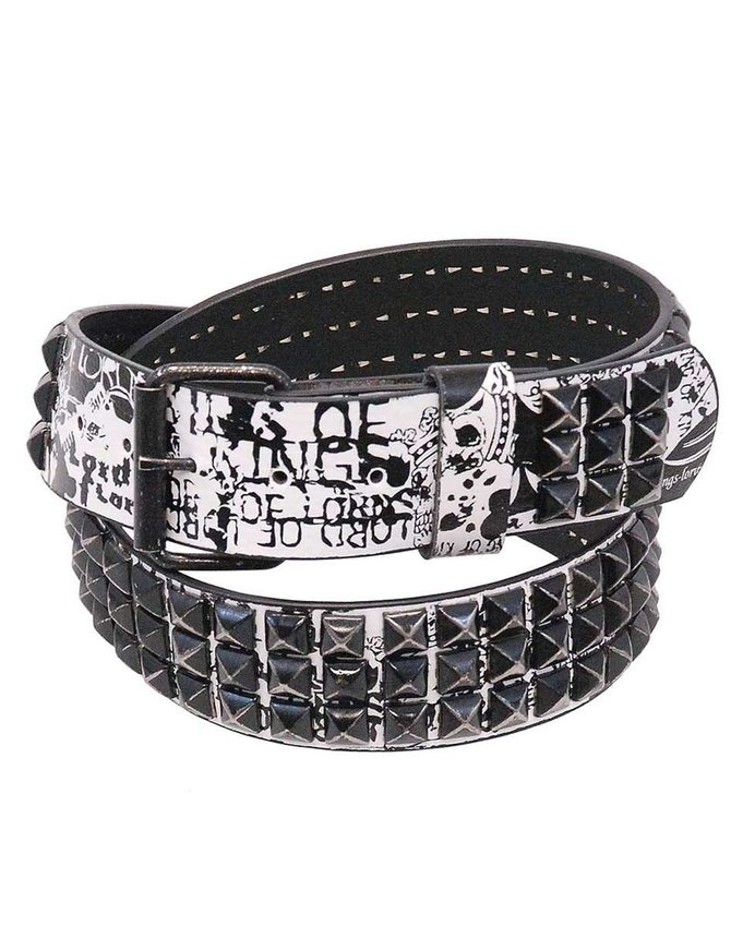 3 Row Vintage Black Pyramid Studded Leather Belt - SPECIAL #BT8143PYKW