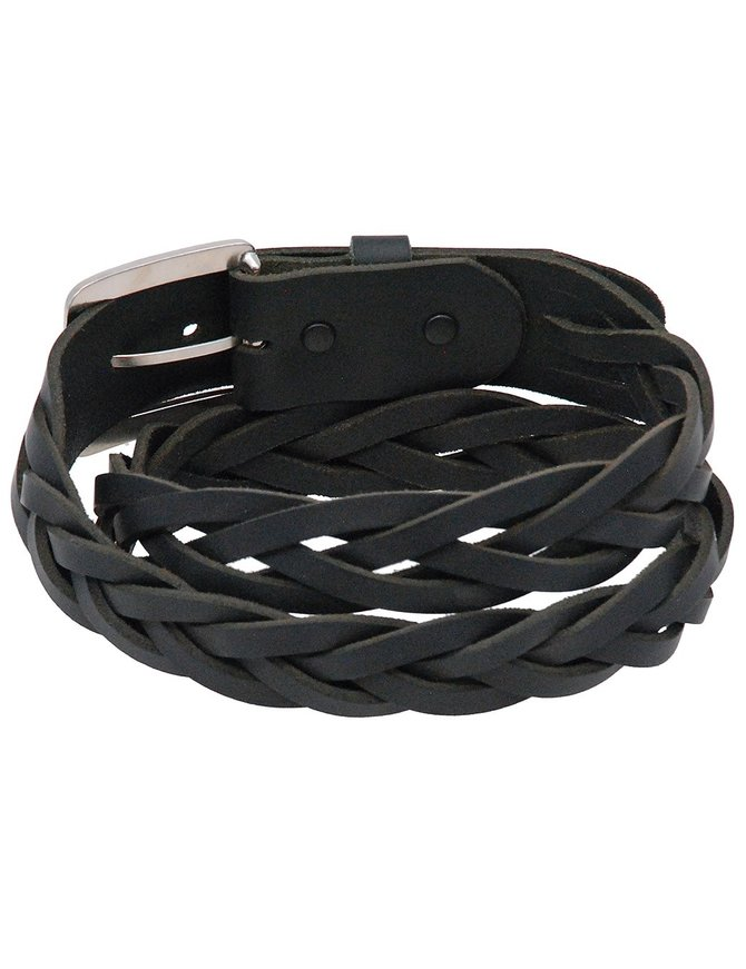 Made in USA Heavy Braided Leather Belt With Removable Buckle #BT93BRAID