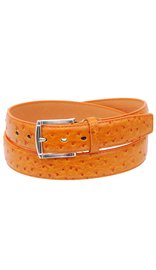 Harley Orange Ostrich Embossed Leather Belt #BTA022T