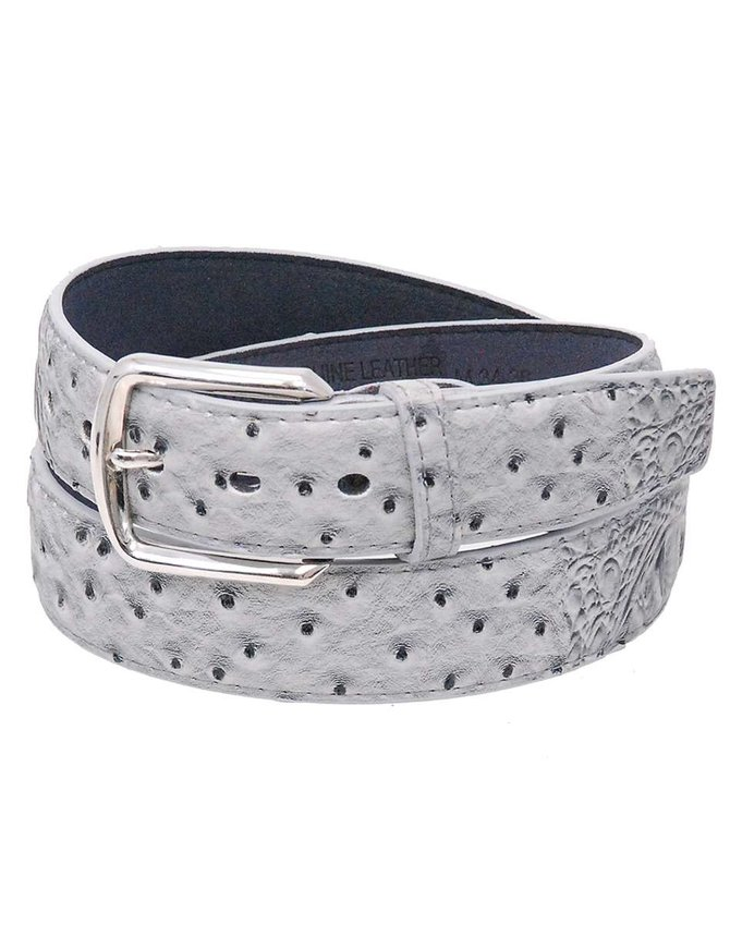 Gray Alligator/Ostrich Embossed Leather Belt #BTA025GY