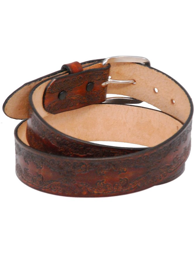 USA Brand Heavy Vintage Brown Leather Belt with Embossed Scroll #BTA101SCN
