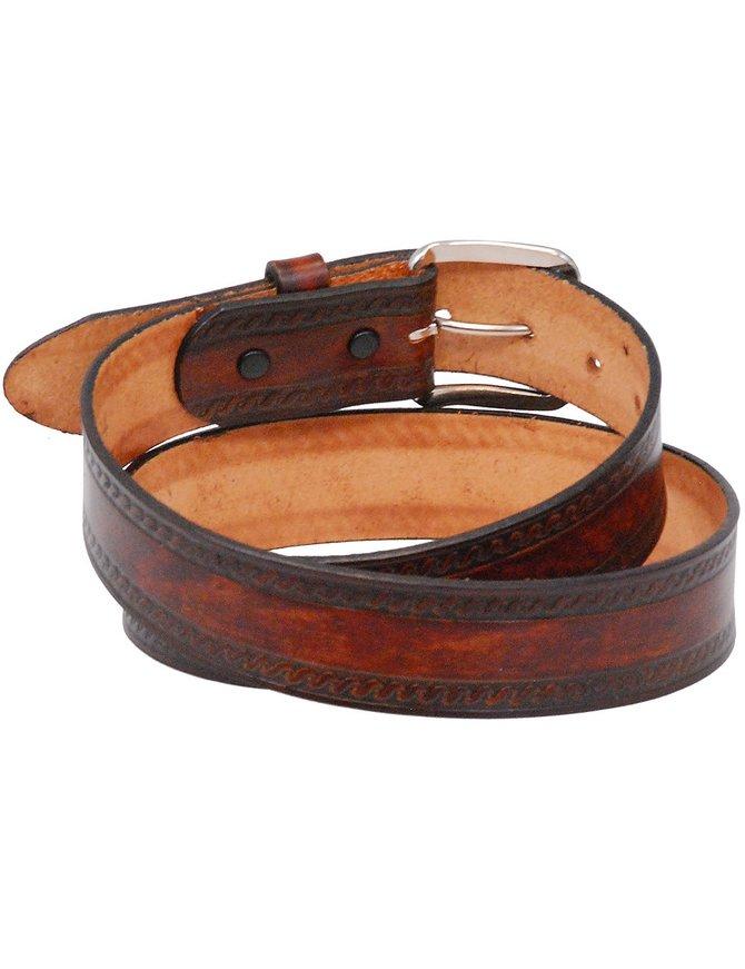 USA Brand Heavy Vintage Brown Leather Belt with Embossed Edges #BTA107N