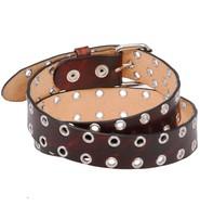 Made in USA Heavy Vintage Brown Leather Eyelet Belt #BTA114EYN
