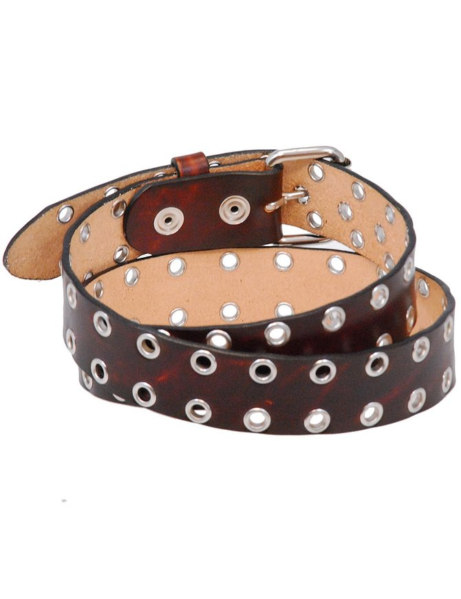 USA Brand Heavy Vintage Brown Leather Eyelet Belt #BTA114EYN