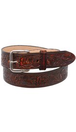 Made in USA Heavy Vintage Brown Leather Belt with Embossed Roses #BTA12ROSEN