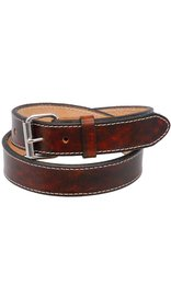 USA Brand Double Layer Extra Heavy Vintage Brown Leather Belt Stitched #BTA2143XXN