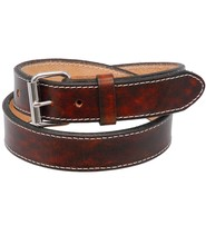 Made in USA Double Layer Extra Heavy Vintage Brown Leather Belt Stitched #BTA2143XXN