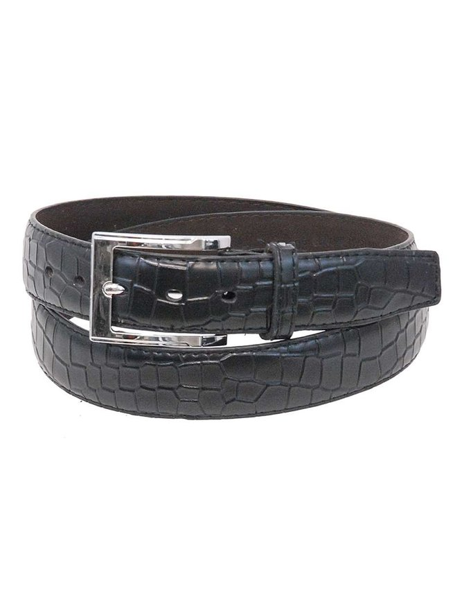 Black Crocodile Belly Embossed Leather Belt #BTB103K