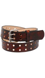 USA Brand Heavy Double Prong Brown Vintage Leather Belt #BTA235DHN